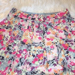 J. Crew Sweet Floral Watercolor Pleated Skirt Sz 2